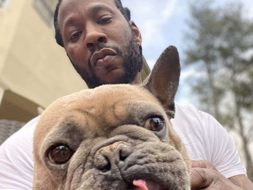 2 Chainz with French Bulldog