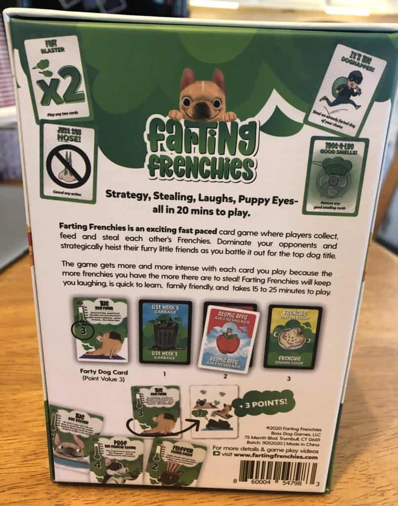 farting frenchies back of box